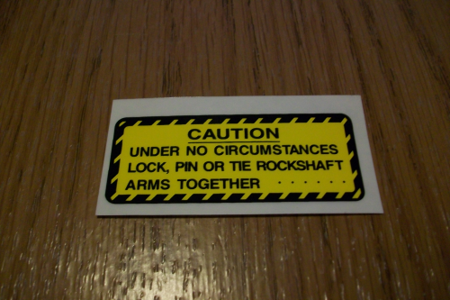 Caution Rockshaft Arms