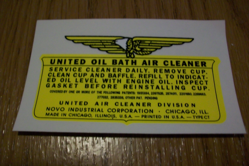 United Oil Bath Air Cleaner