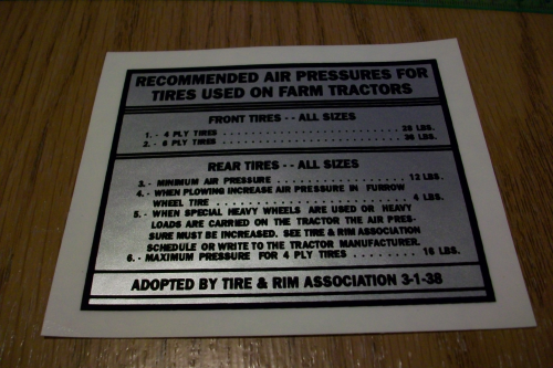 Recommended Air Pressures