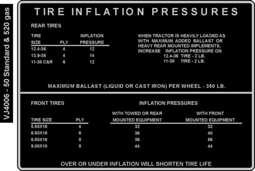 Tire Pressure Decal