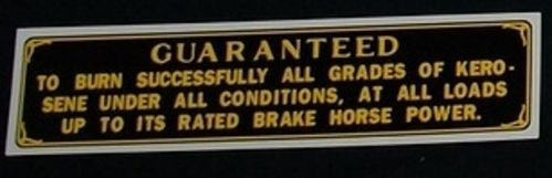 Rumely- Guarantee decal for 1/2 scale model